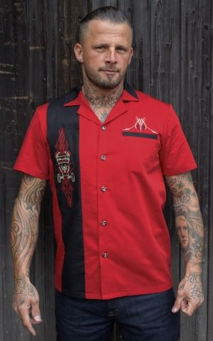 Rumble59 - Lounge Shirt - Pinstripe Paradise - red