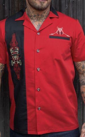 Rumble59 - Lounge Shirt - Pinstripe Paradise - red