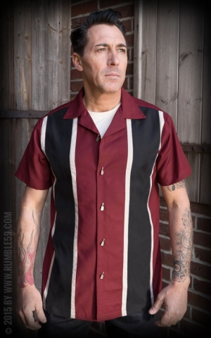 Rumble59 - Classic Shirt - Two Stripes RedWine