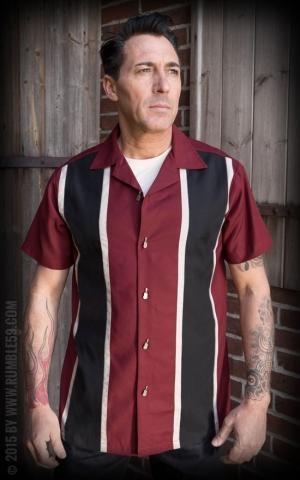 Rumble59 - Classic Shirt - Two Stripes RedWine