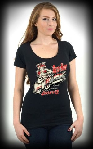Lucky 13 - T-Shirt Avec Encolure Bateau Miss Red Hot