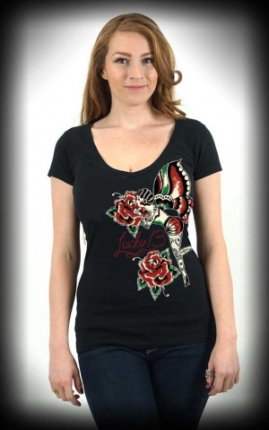 Lucky13 Scoop Neck Shirt - Rose Fairy