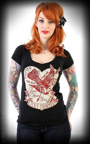 Lucky13 Ladies V-Neck Shirt - Love Struck
