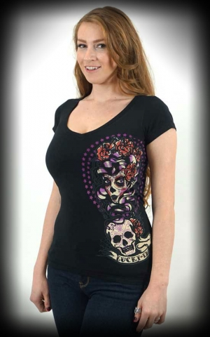 Lucky13 Scoop Neck Shirt - Shadow Lady