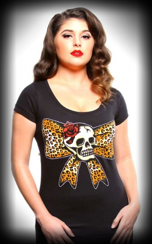 Lucky13 Ladies Shirt Leopard Bow Skull