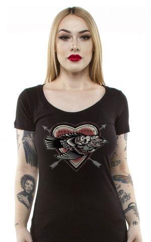 Lucky13 Scoop Neck T-Shirt Femme - Dead Bird