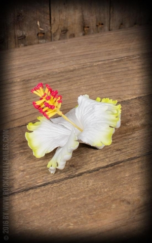 Miss Candyfloss Hairclip Hibiscus Ema-Deen, yellow white