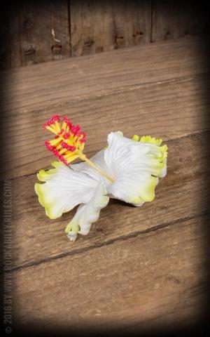Miss Candyfloss Haarclip Hibiskus Ema-Deen, gelb weiß