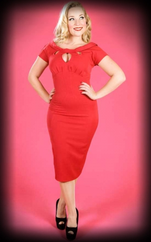 Miss Candyfloss Pencilskirt Dress - Bailey, red