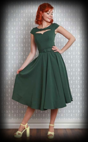 Miss Candyfloss Swing Dress with belt, Ylva, emerald