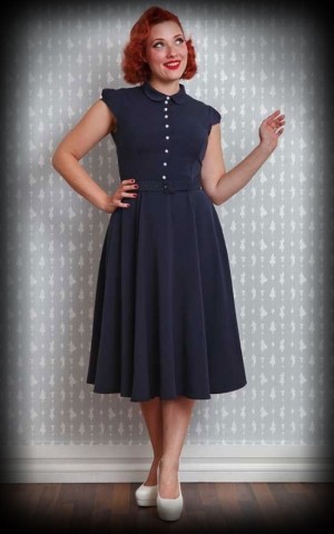 Miss Candyfloss Swingdress with button line Elvira - Preppy, navy