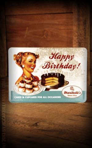 Tin plate postcard Happy Birthday