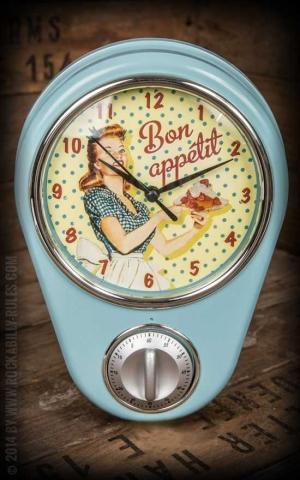 Küchenuhr mit Timer- Retro Bon Appetit - Miss Fifties