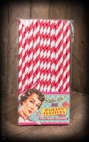 Straws - Red/White - 25 pcs