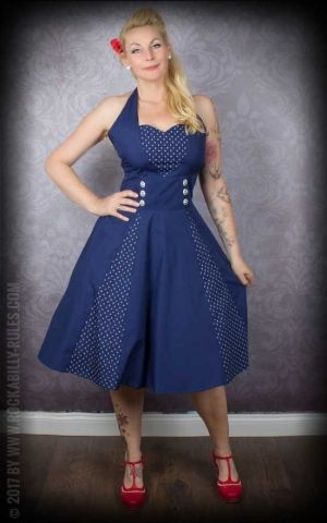 Neckholder petticoat dress with anchors