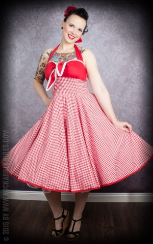 Neckholder Petticoat Dress - Vichy - red/white