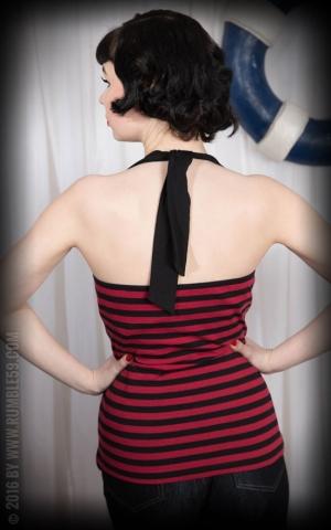 Rumble59 Ladies - Striped Neckholdertop - rouge/ noir