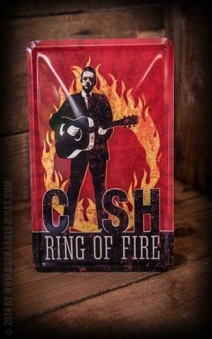 Blechpostkarte Johnny Cash - Ring of Fire