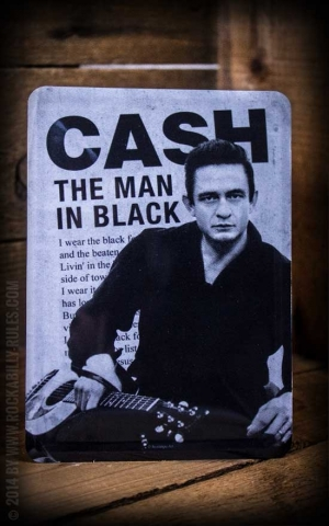 Tin plate postcard Johnny Cash - The man in black