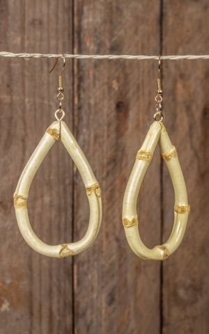 Earrings made of bamboo, oval