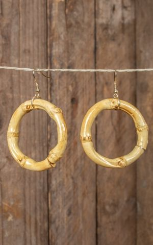 Earrings made of bamboo, round