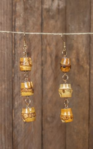Earrings made of bamboo, Tiki