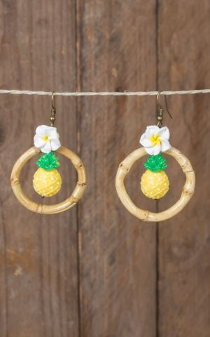 Mirandas Choice Earrings pineapple in bamboo ring
