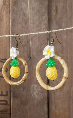 Mirandas Choice Ohrringe Ananas im Bambusring