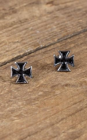 Stainless Steel Stud Earring -  Iron Cross