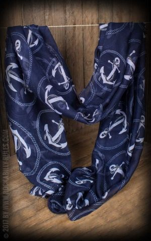 Oversize Scarf Anchor, navy