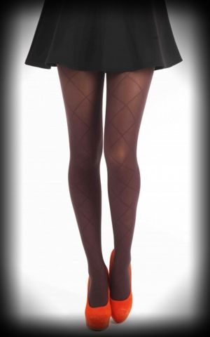 Nylon Collants Rhombique design chocolat