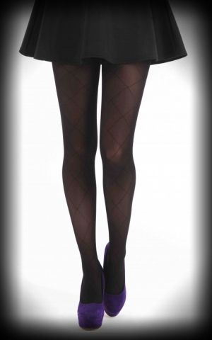 Nylon Tights Large Diamonds black