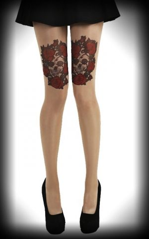 Nylon Tights Skull and Roses