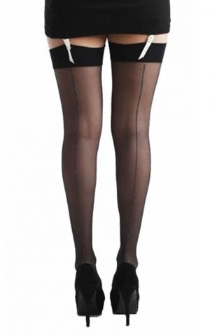 Straps stockings Jive black with silver seam