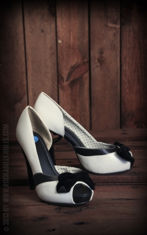 Peep Toe Orsay Heart Cut Out Heel Cream Black Bow