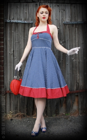 Rumble59 Ladies - Neckholder Petticoat Dress - Sweet Polkadots - darkblue