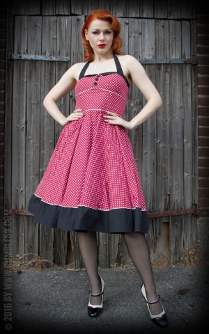 Rumble59 Ladies - Neckholder Petticoat Dress - Sweet Polkadots - wine red