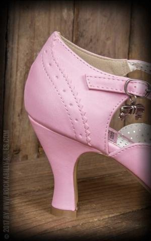 Pleaser - Kitten Heel Flapper mit Schleife, pink