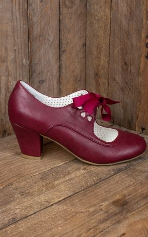 Pleaser Pin Up Couture Wiggle Cuban Heel Mary Jane, burgund