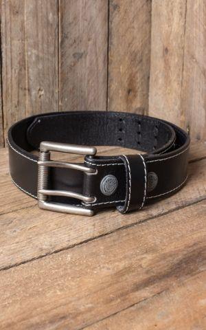 Rumble59 Ledergürtel mit Doppelsteg-Schnalle, schwarz