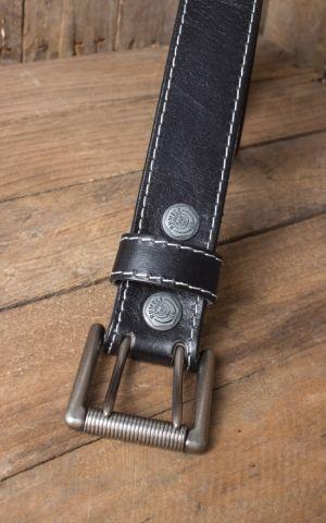 Rumble59 Ceinture de cuir avec boucle- double, noir