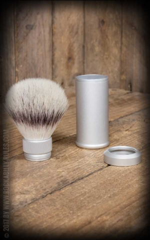 Travel shaving brush with Silvertip Fibre, handle material aluminum