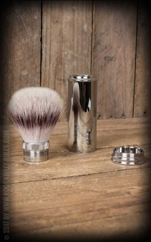 Travel shaving brush with Silvertip Fibre, handle material metal chrome-plated