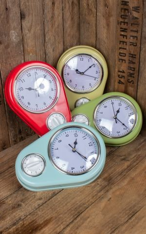 Retro Kitchen Clock with timer, different colors