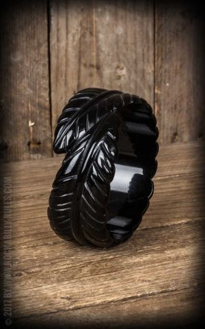 Retro Vintage Bracelet in Palm Leaf Design, black
