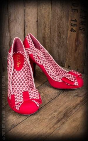 Ruby Shoo - Pin-up Court Shoe Ivy with bow, red and white
