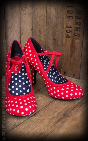 Ruby Shoo - Polka Dot Pumps Jessica, red