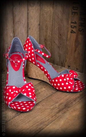 Ruby Shoo - Polkadot Wedges Molly, rot