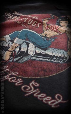 Rumble59 - Ladies V-Neck Shirt - Hotrod Bettys Spark Plugs