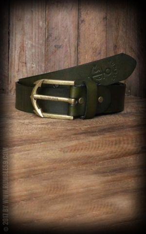 Rumble59 Leather Belt with anchor buckle, green